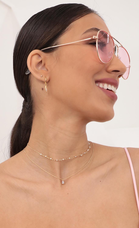 Mini Pearl Choker and Teardrop Necklace Set