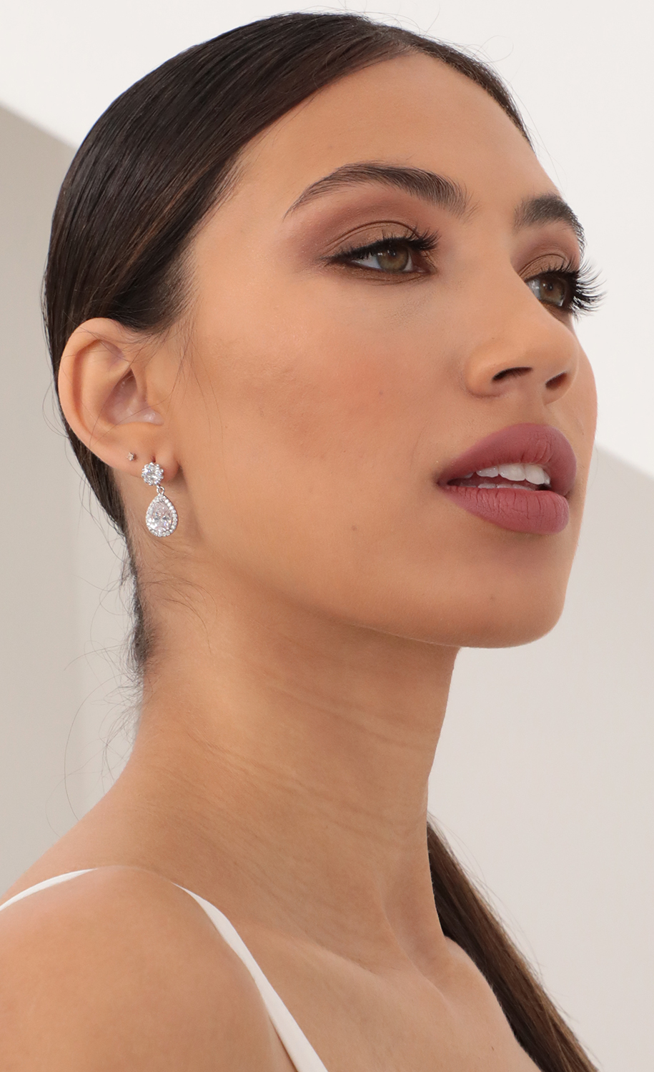 Dainty Crystal Teardrop Earrings in Silver
