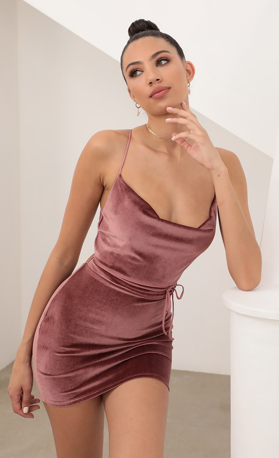 Cowl Neck Velvet Dress in Mauve Velvet