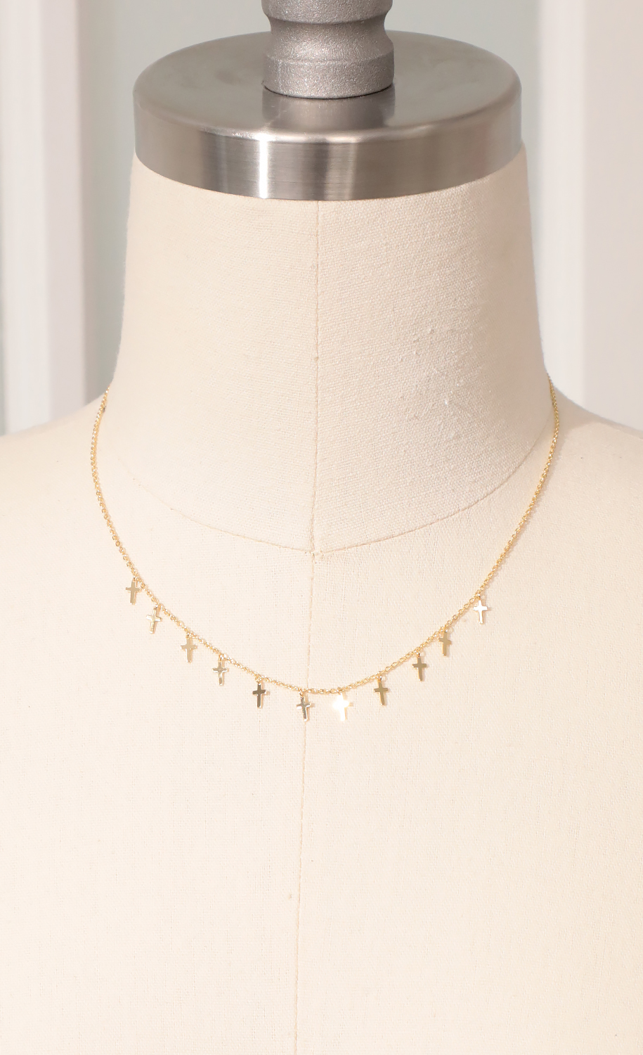 Dainty Cross Charm Necklace in Gold