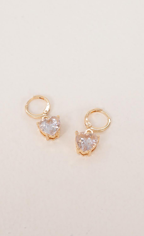 White Gem Heart Huggie Earrings