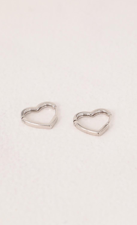Mini Heart Huggie Earrings in Silver