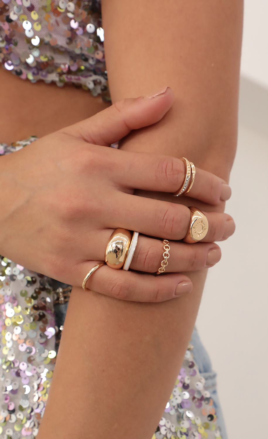 7 Piece Ring Set in Gold