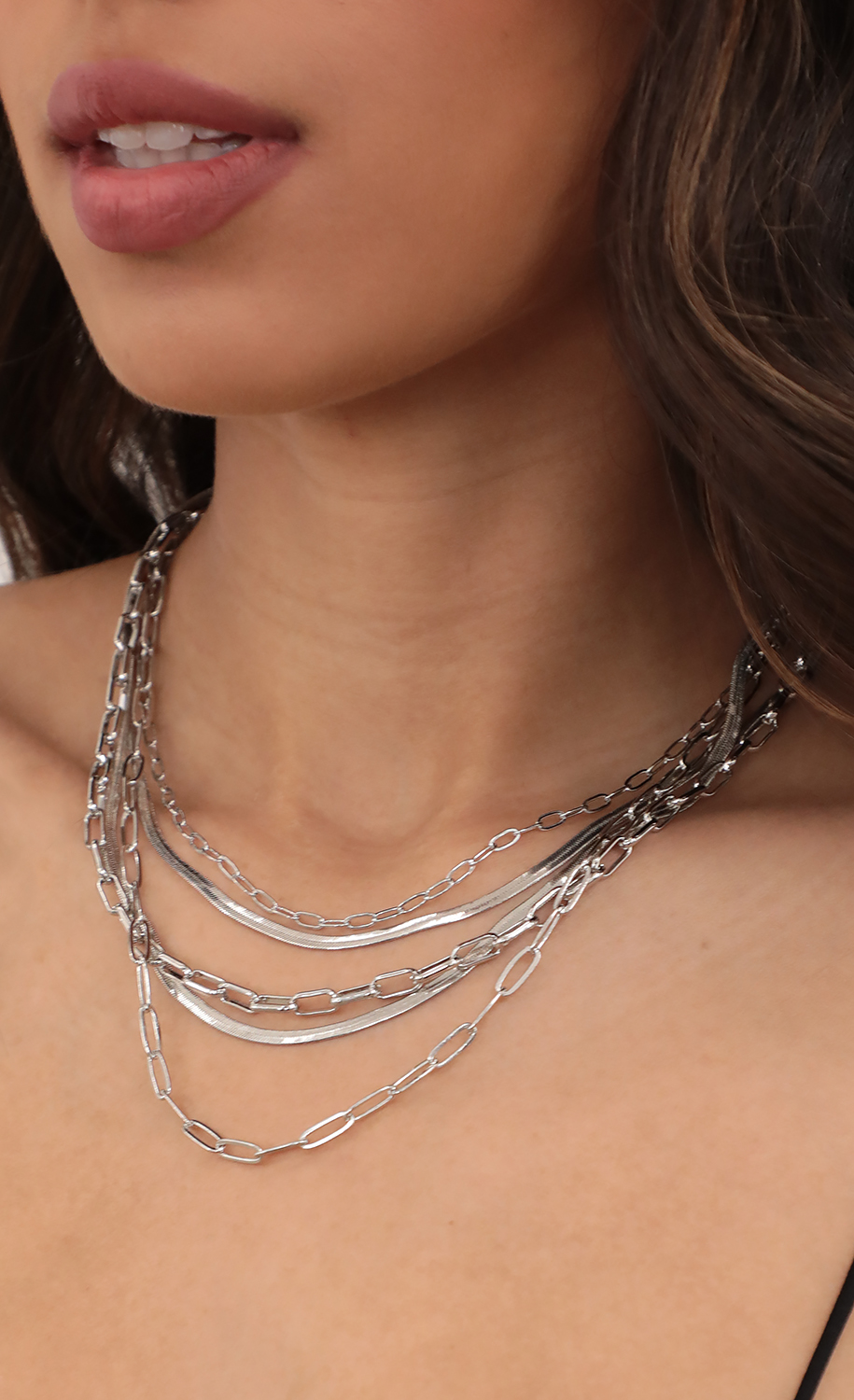 Snake Paperclip Link Chain Necklace Set in Silver