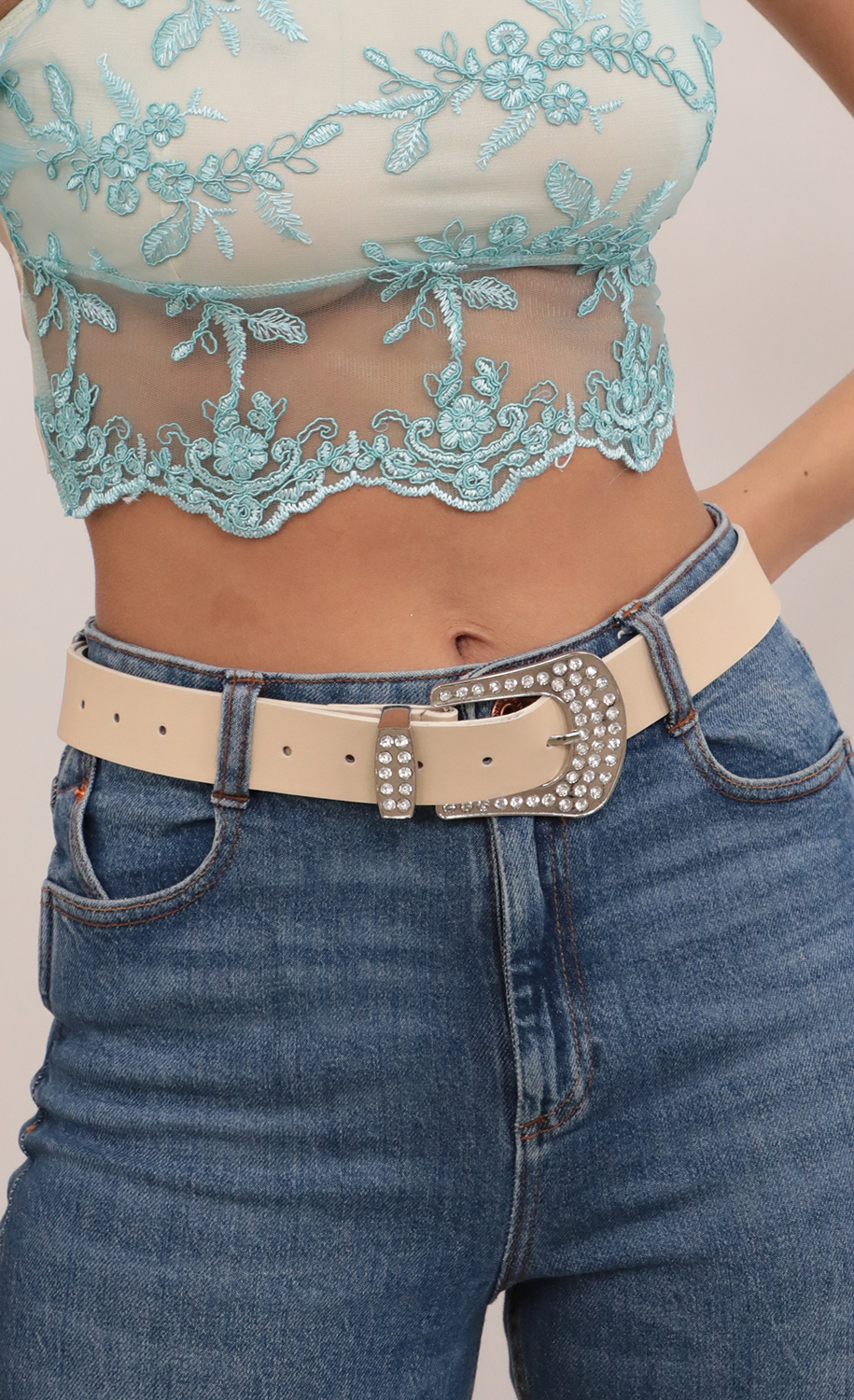 Embellished Buckle Belt in Nude