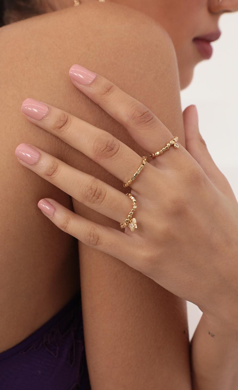 Gold Beaded Trio Ring