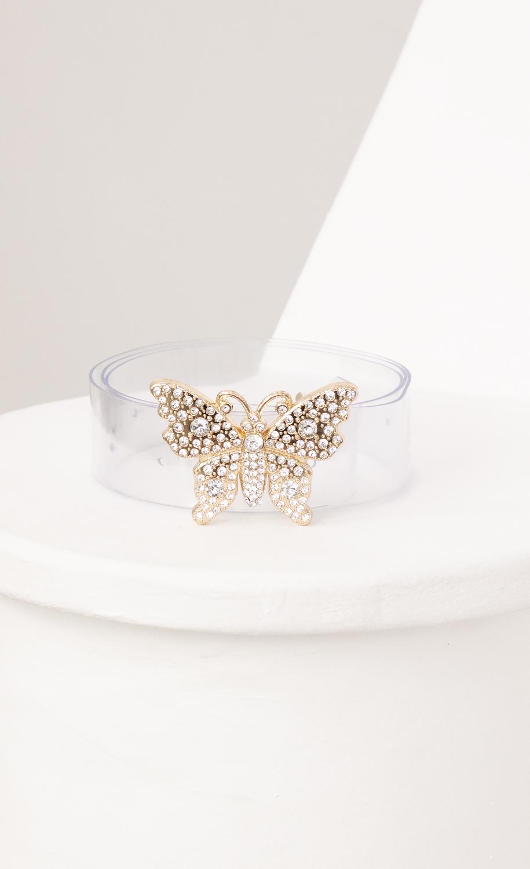 Gold Rhinestone Butterfly Clear Belt