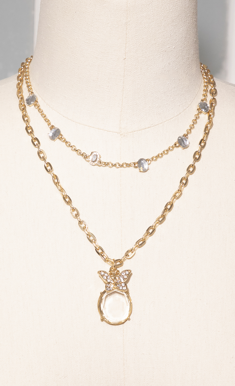 Butterfly Pendant Necklace Set