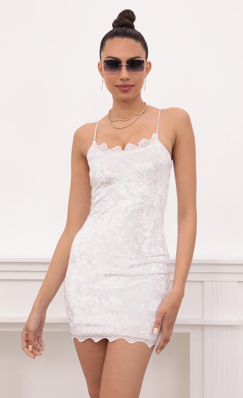 Lace Bodycon Velvet Dress In White