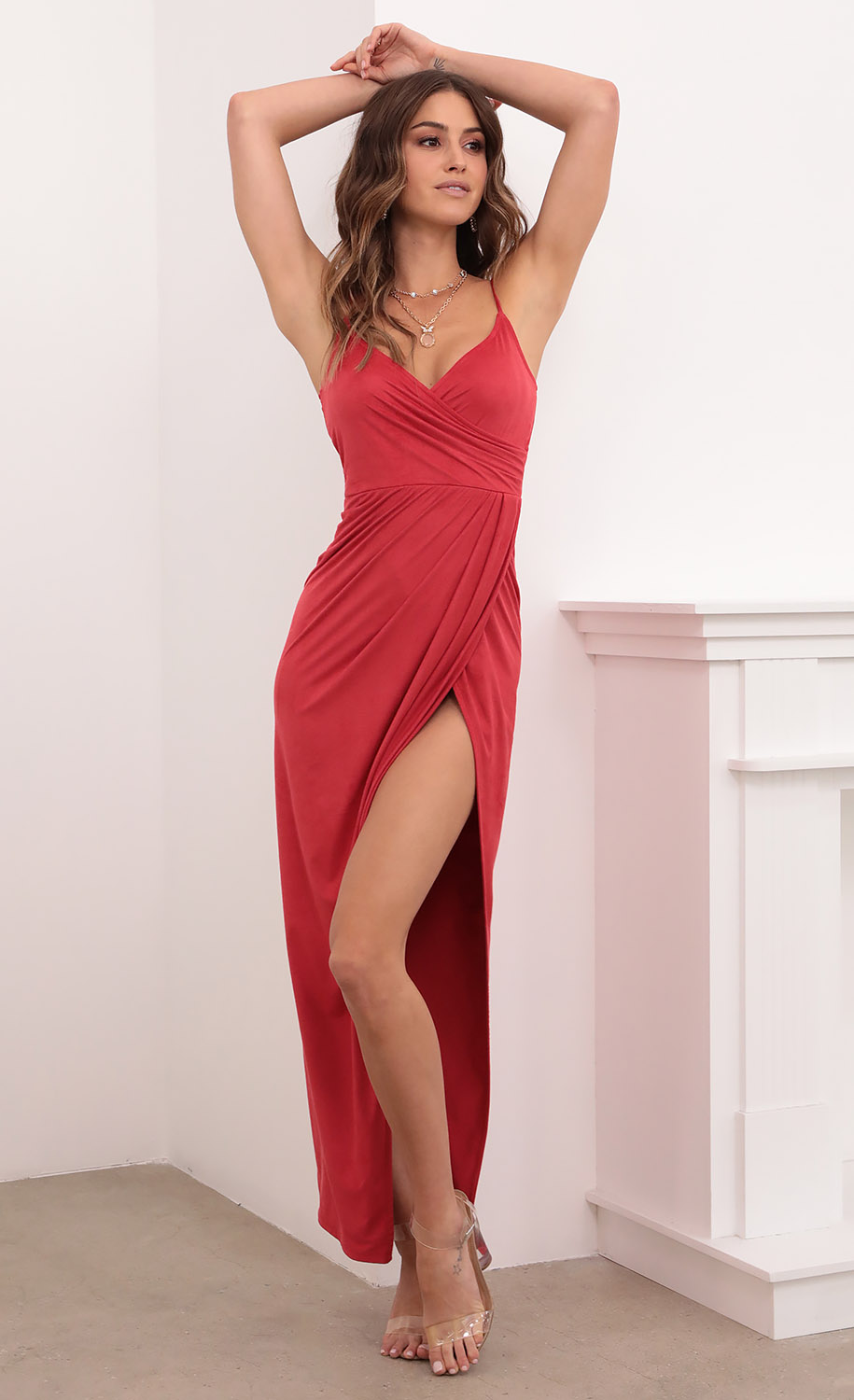 Beauty And Grace Suede Maxi in Red
