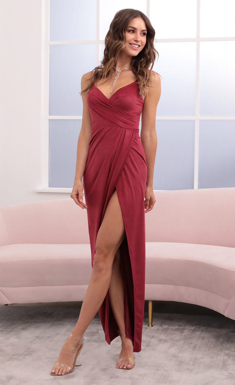 Beauty And Grace Suede Maxi in Burgundy