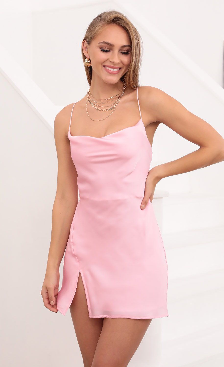 Willow Satin Slit Cowl Dress in Pink