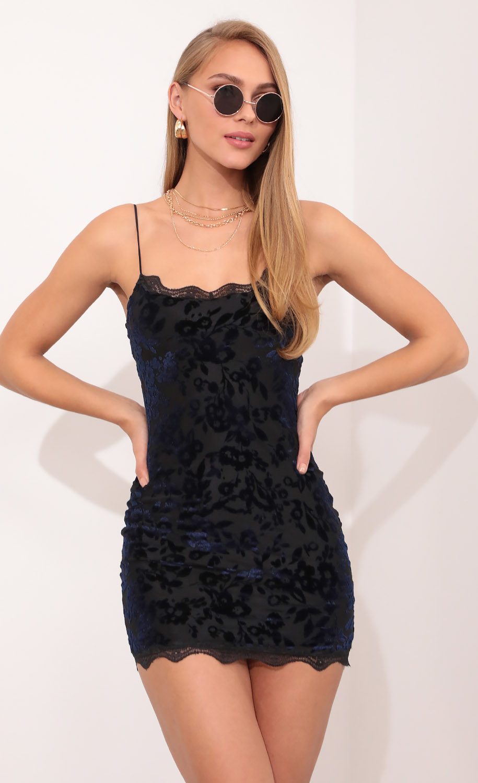 Lace Bodycon Dress In Burnout Velvet in Navy