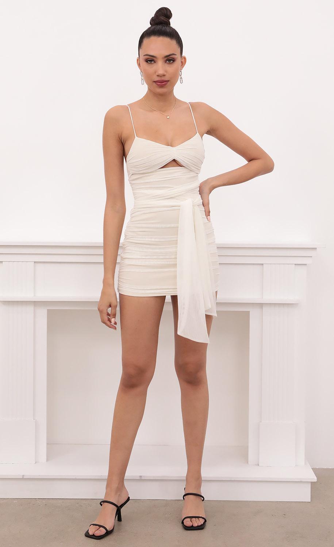 Georgina Cut-Out Ruched Mesh in White