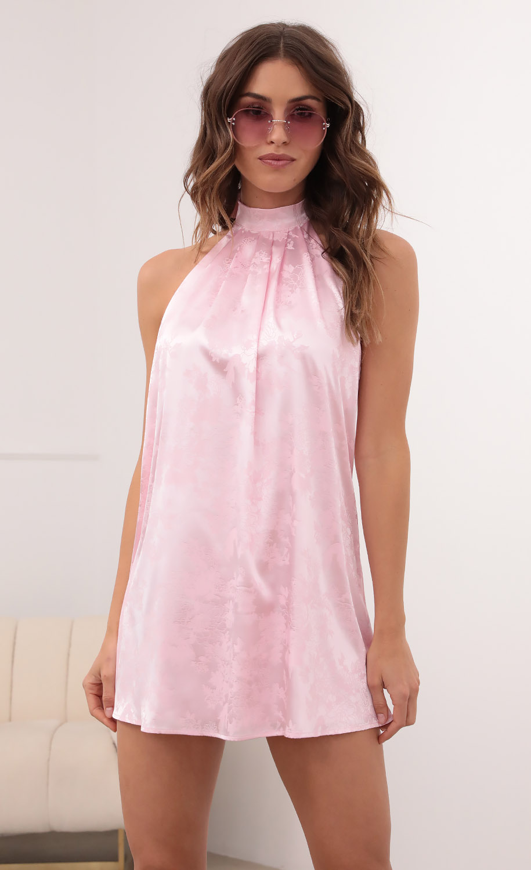 Midnight Satin Halter Dress In Floral Pink