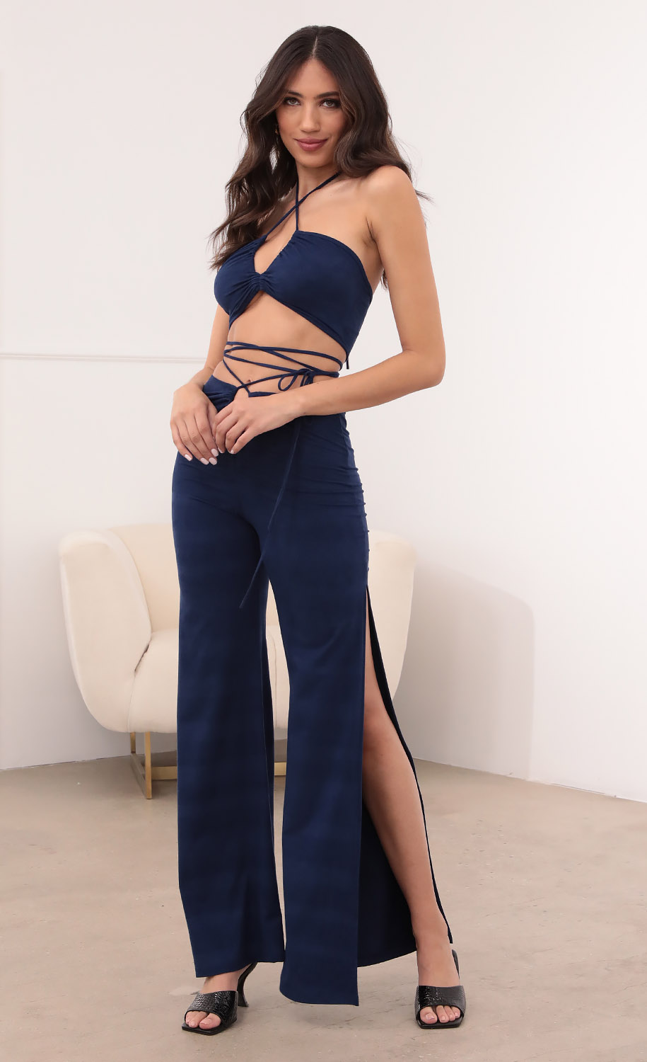 Dylan Suede Pant Set in Navy