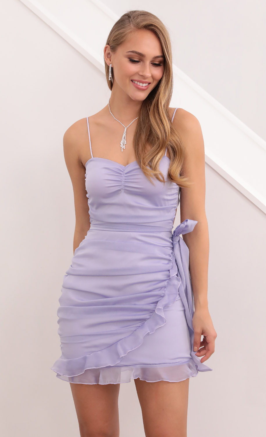 Monica Ruched And Ruffled Dress in Lilac