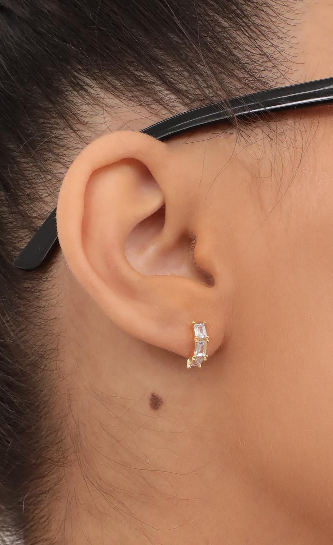 Mini Baguette Half Hoop Earring