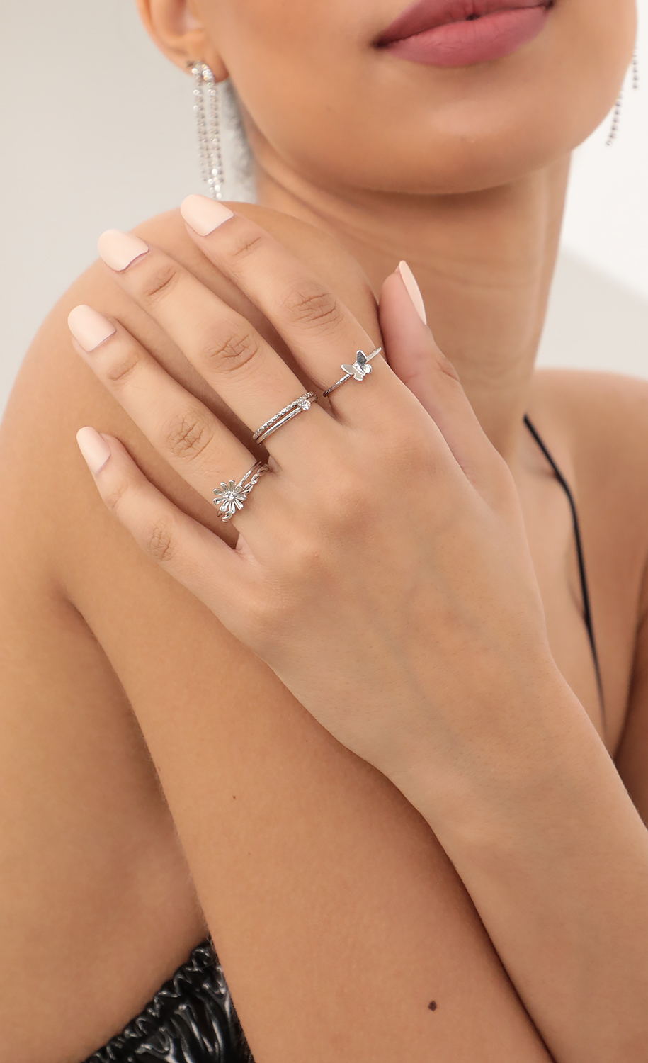 Daisy Butterfly Dainty Silver Ring Set