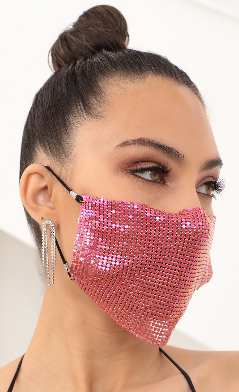 Fuchsia Metal Chainmail Face Mask
