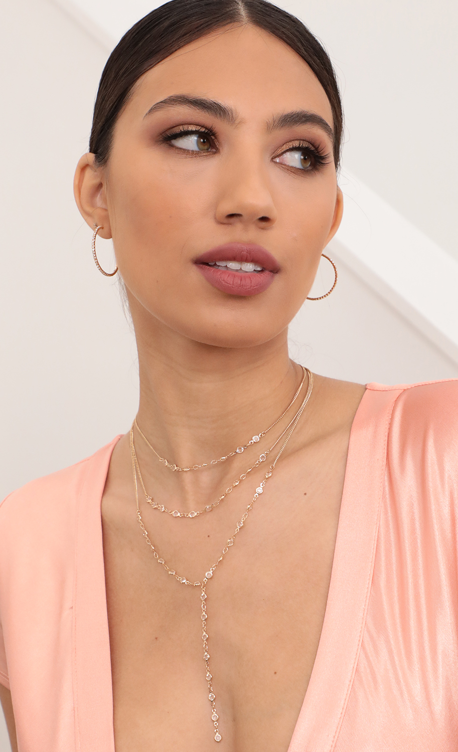 Three Layer Crystal Necklace and Lariat Set