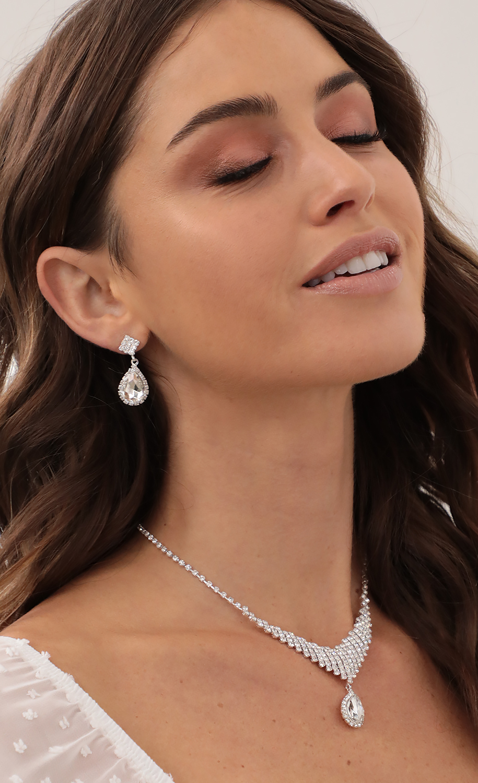 Silver Crystal Teardrop Diamante Set