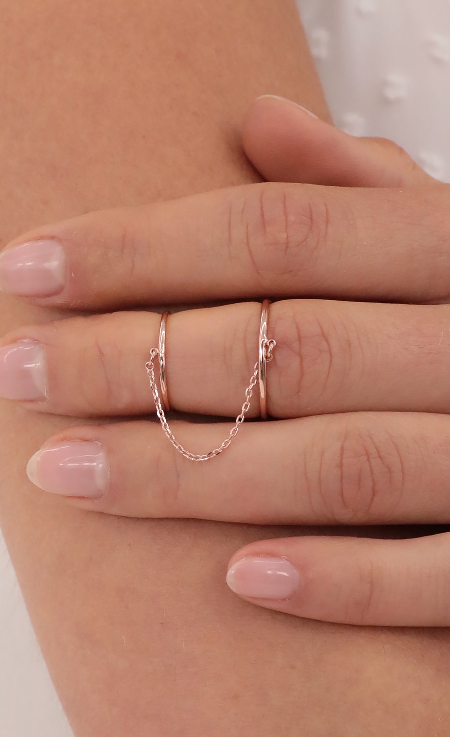Rose Gold Chained Double Ring