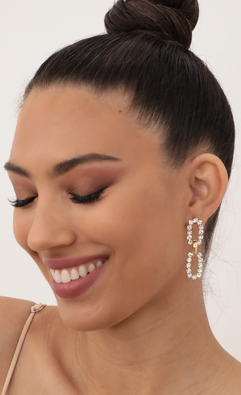 Crystal Embellished Chain Link Earrings