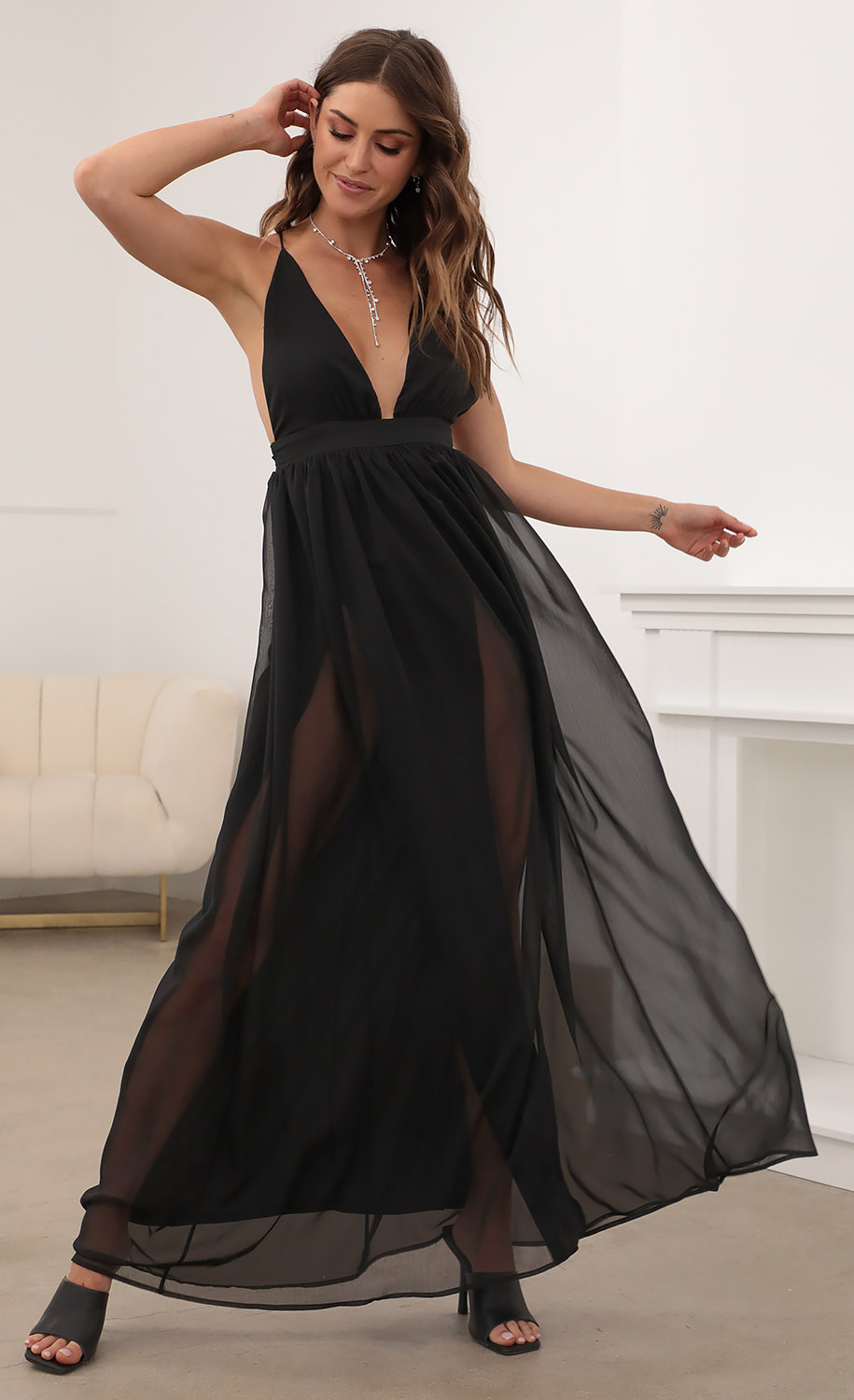 Lyra Black Chiffon Slit Maxi Dress