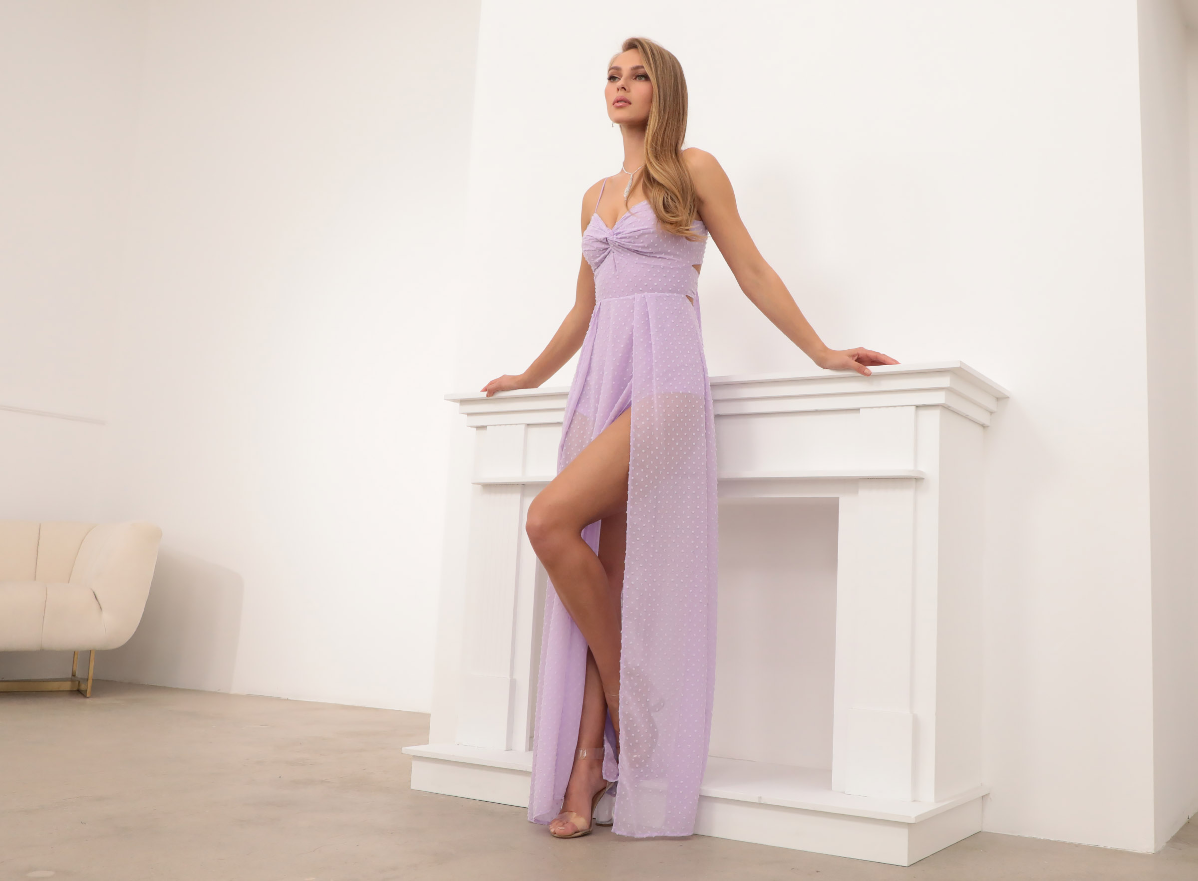 Taylor Front Twist Dotted Chiffon Maxi Dress in Lavender