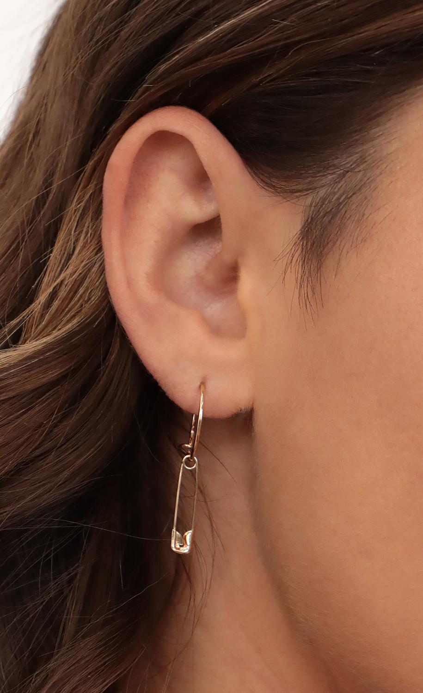Safety Pin Hoop Earrings in Gold
