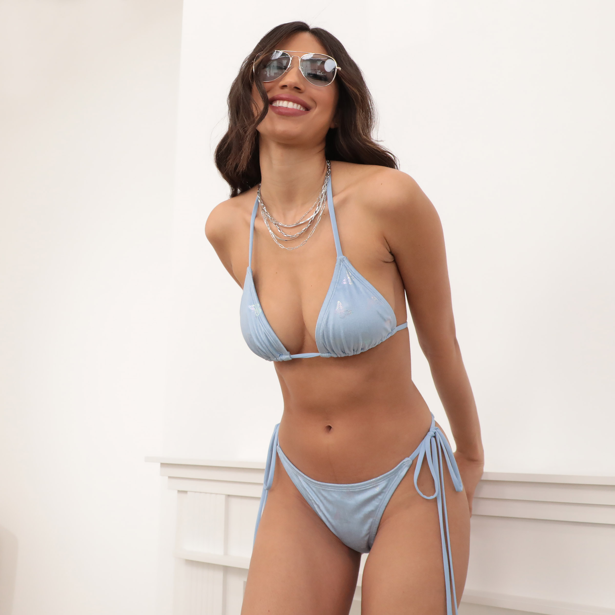 Mykonos Triangle Bikini Set in Light Blue Velvet