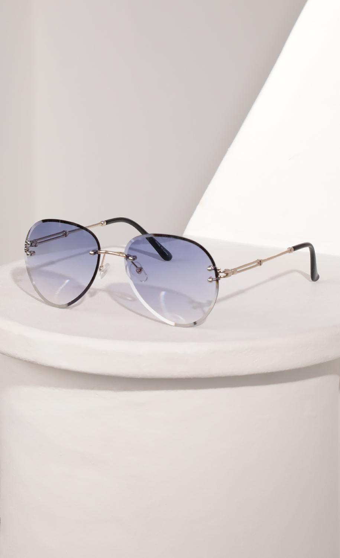 Rimless Aviator-Inspired Sunglasses in Lavender