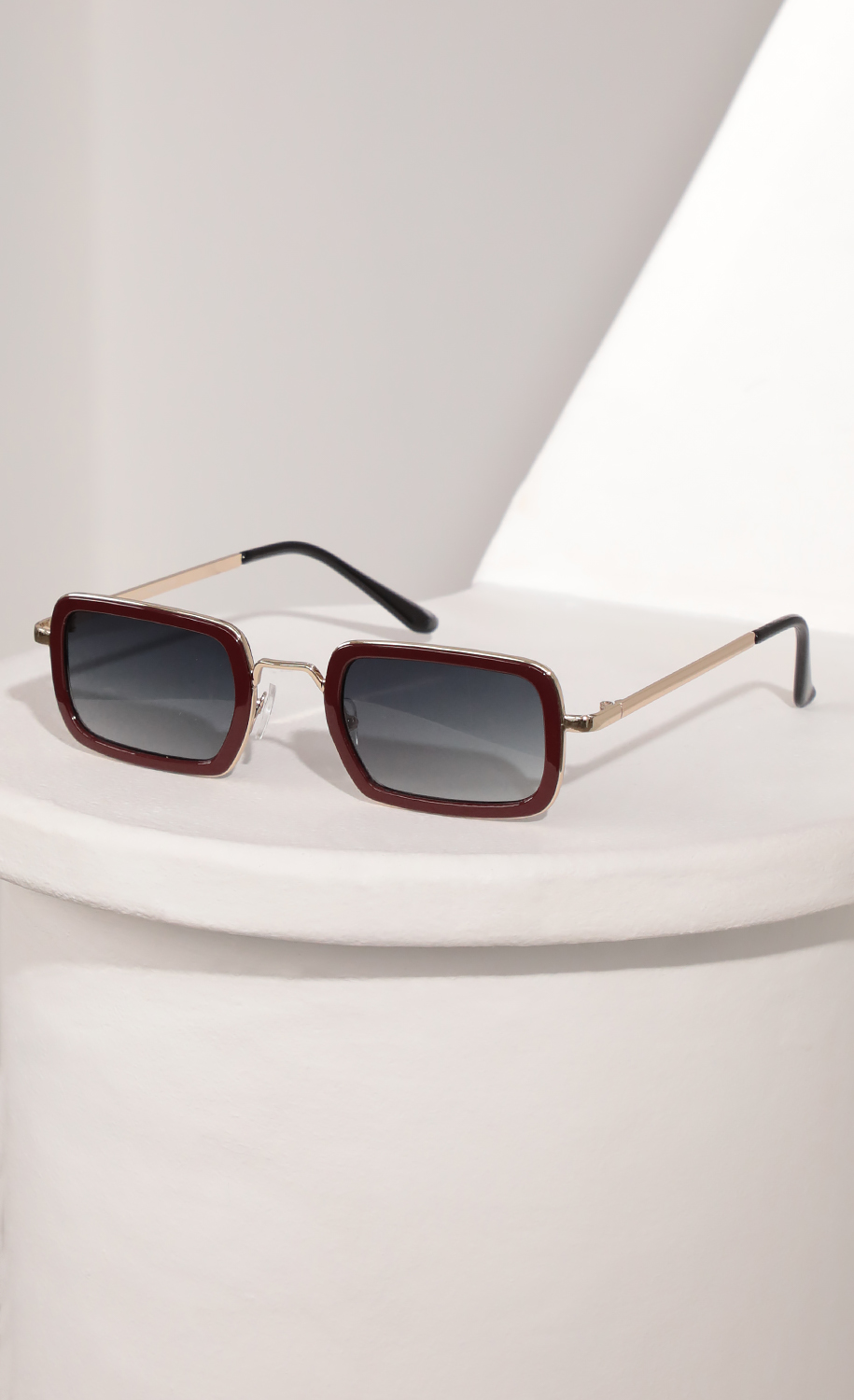 Rectangle Sunglasses with Burgundy Bevelled Edge Lenses
