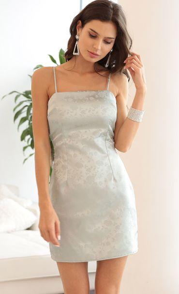 Ariel Satin Tie Back Dress In Silver