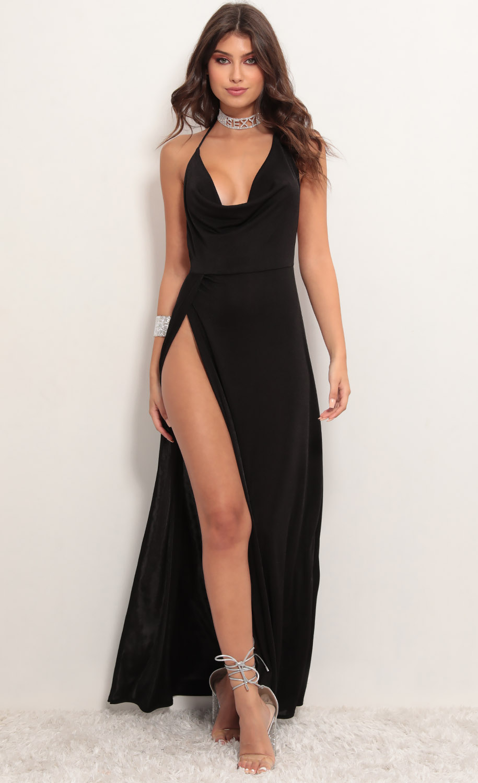 Kaira Cowl Neck Maxi Dress in Black