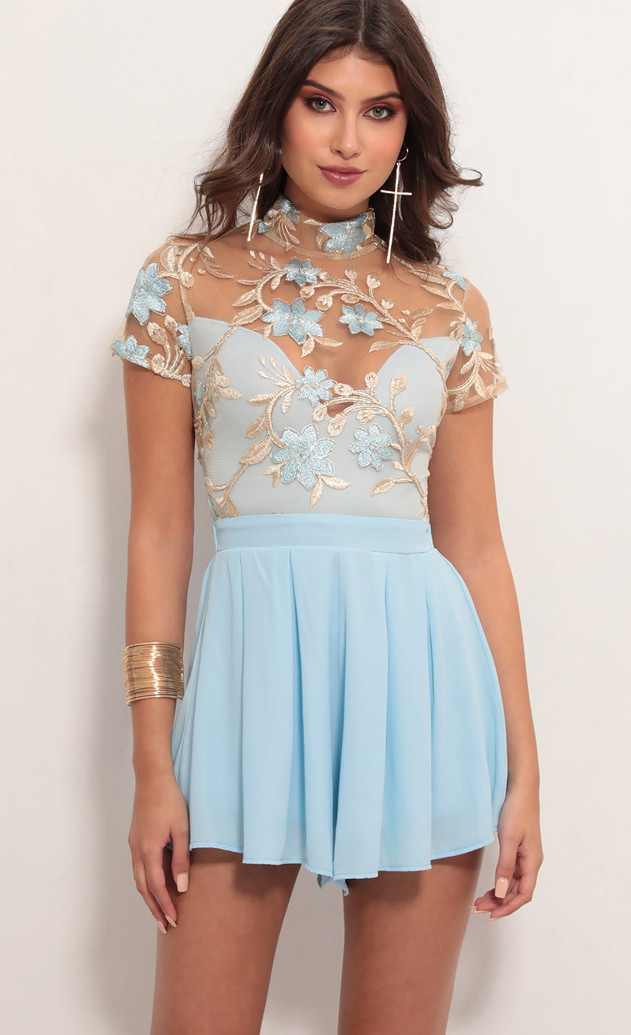Heiress Floral Lace Romper in Blue Gold
