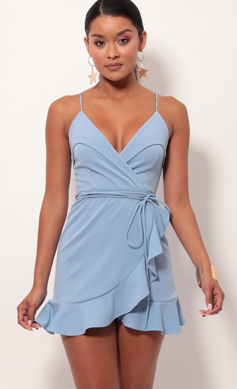 Carisa Ruffle Dress in Pastel Blue