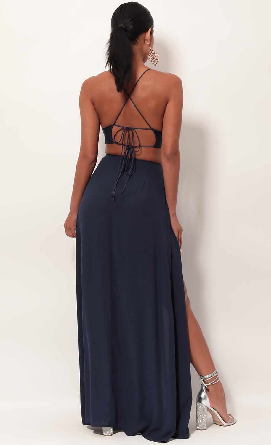 Paris Floral Embroidered Maxi Dress in Navy