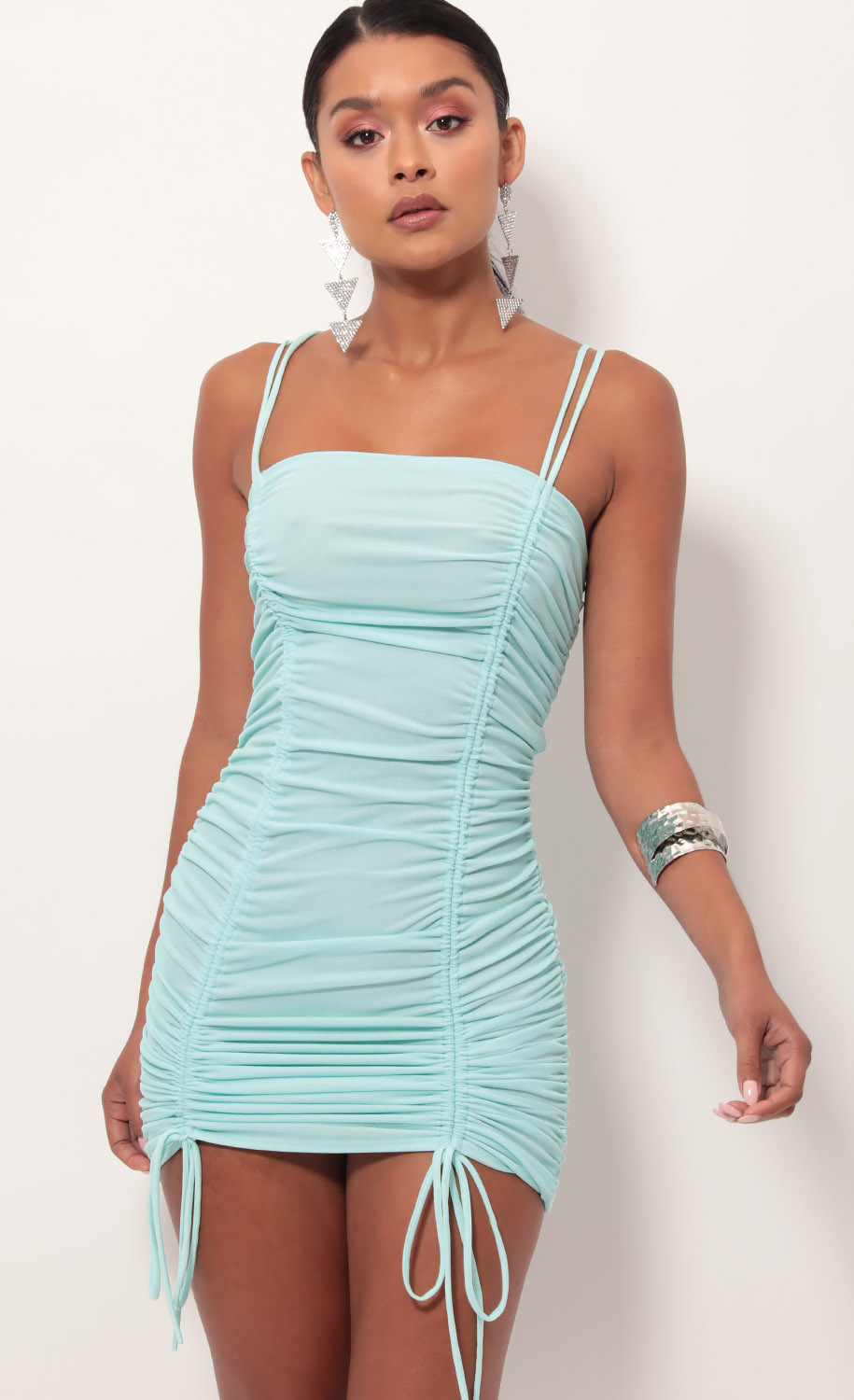 Double Trouble Ruched Dress in Aqua
