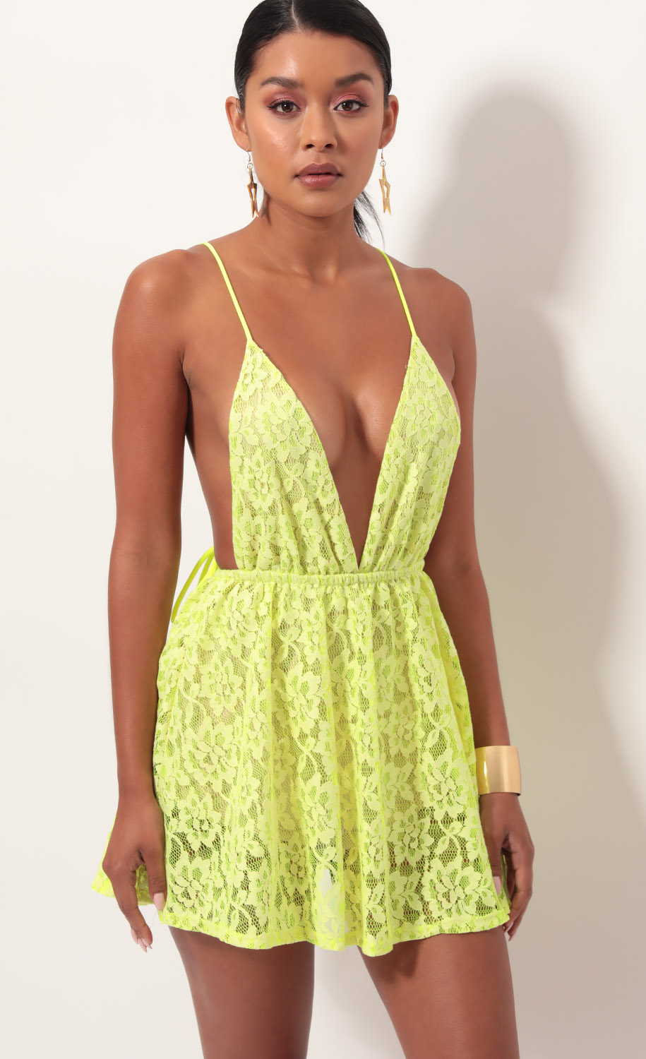 Skylar Embroidered Dress in Neon Yellow