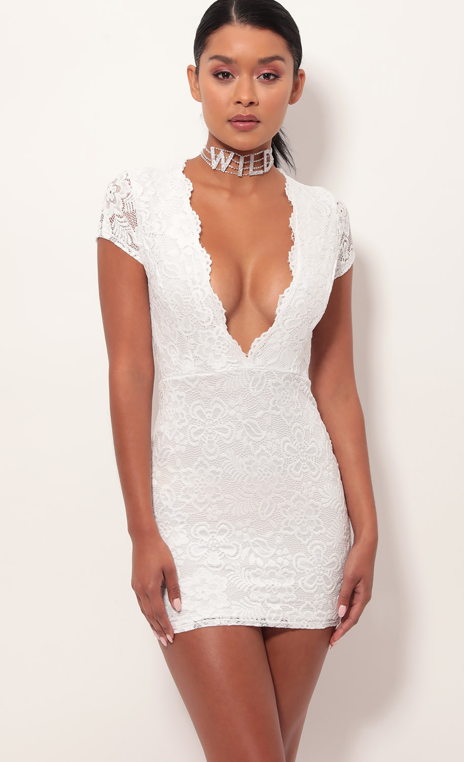 Kendra Plunge Lace Dress in White
