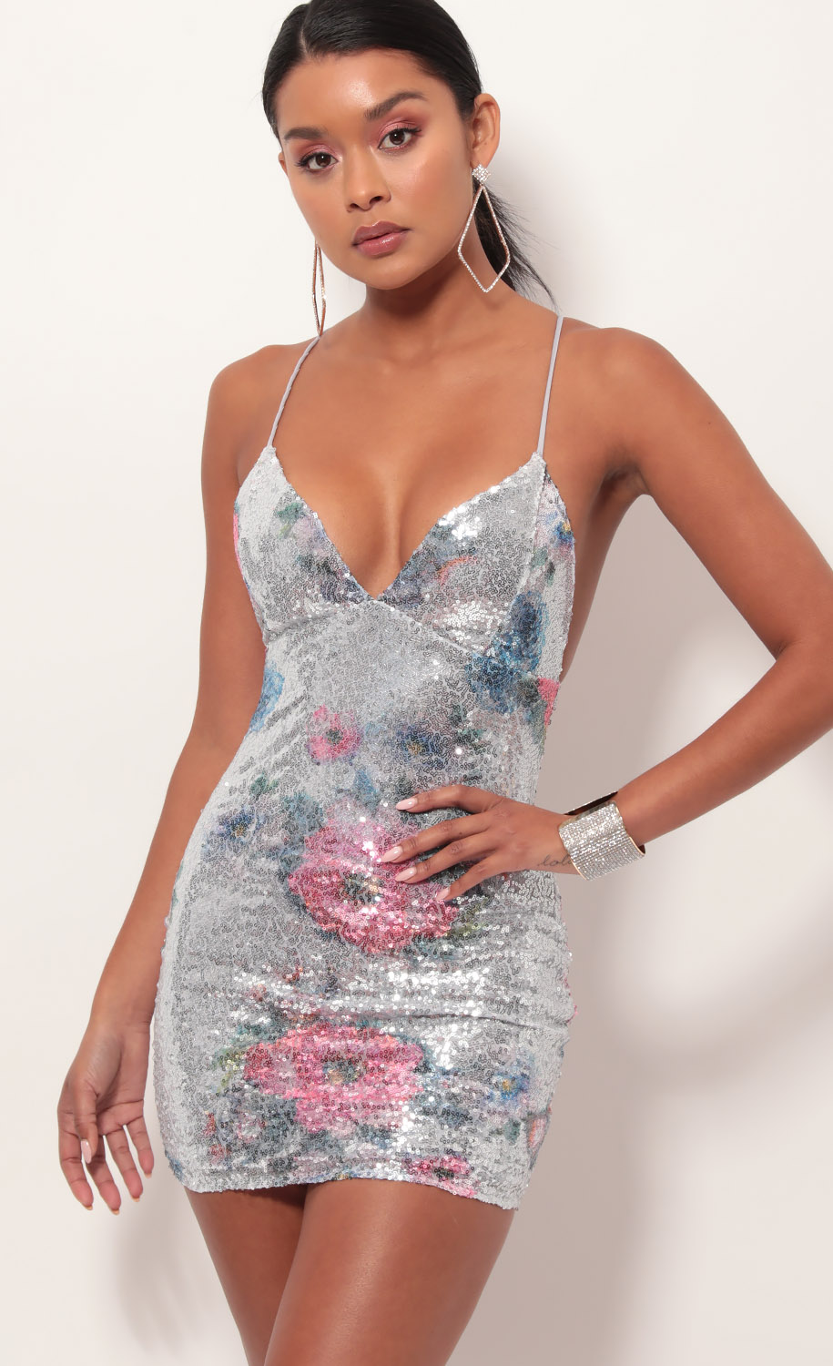 Sequin lace back bodycon dress in rose