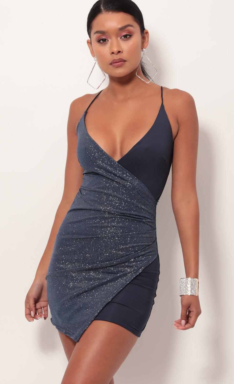 Kloe Asymmetric Dress in Blue Sapphire