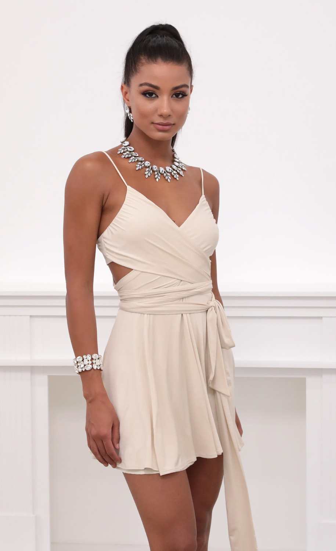 Colette Wrap Dress in Champagne