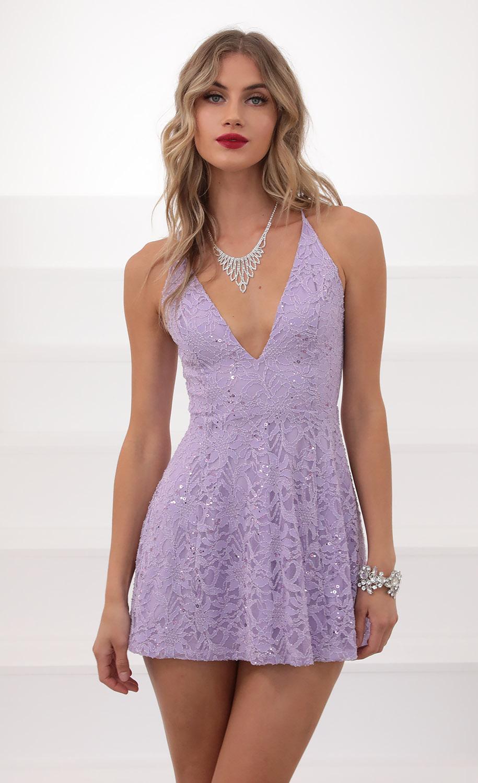 Vivia Floral Sequin Lace Dress In Lavender