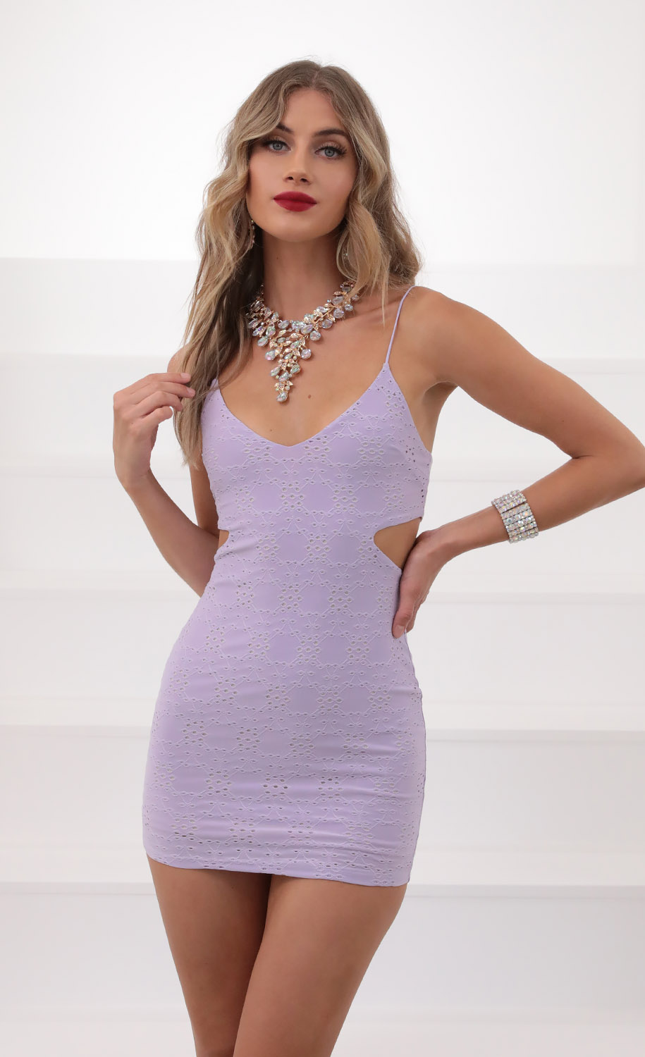 Eyelet Hourglass Dress in Lavender