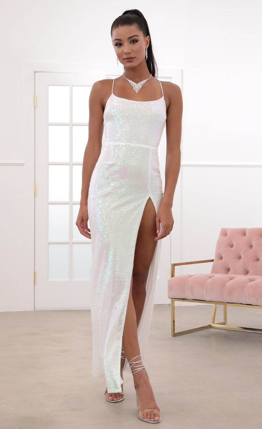 Gala Sequin Luxe Maxi in Iridescent white