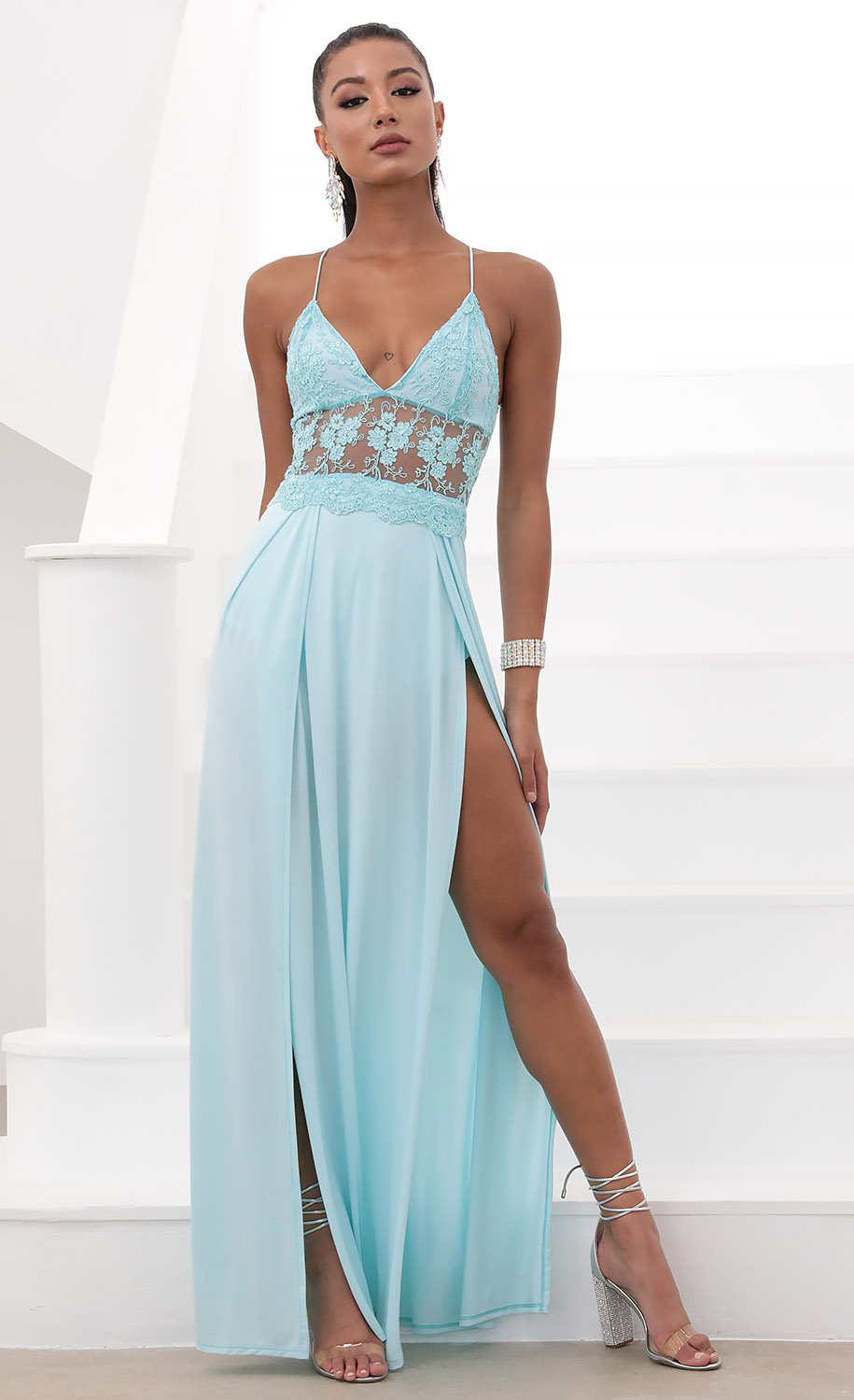 Tulum Lace Maxi Dress in Aqua Blue