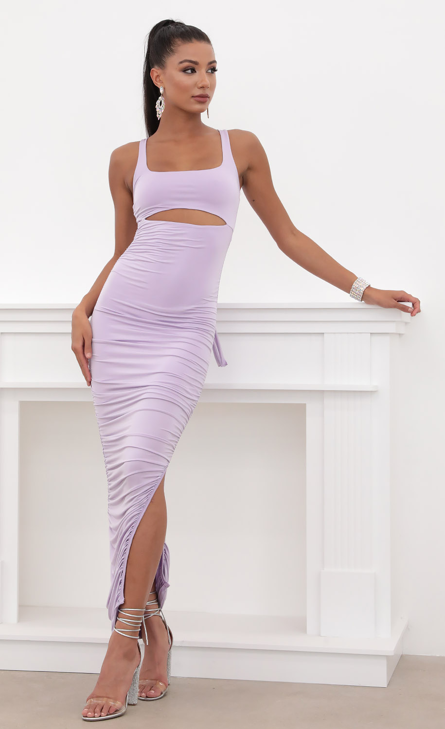 Adriana Ruched Cutout Maxi in Lilac